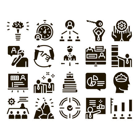 Mentor Relationship Glyph Set Vector Thin Line. Human Holding Key And Gear, Stopwatch And Mountain With Flag, Mentor Glyph Pictograms Black Illustrations Illustration