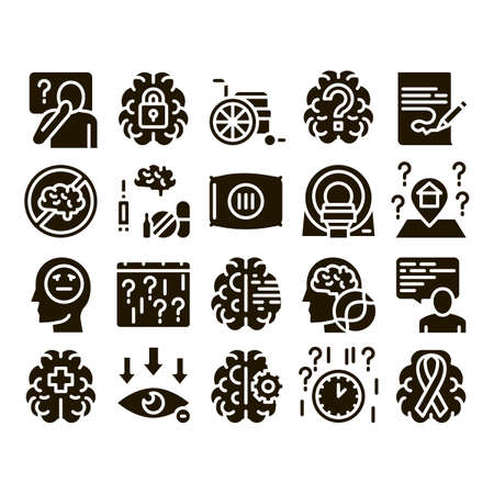 Alzheimers Disease Glyph Set Vector Thin Line. Brain And Drugs, Wheelchair And Man Silhouette With Alzheimers Illness Glyph Pictograms Black Illustrations