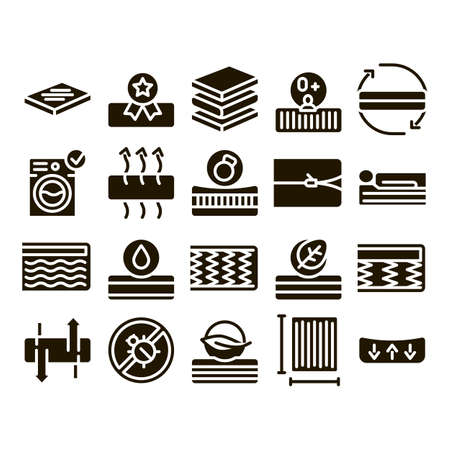 Mattress Orthopedic Glyph Set Vector Thin Line. Bedding Soft Mattress With Memory For Support Healthy Spine From Foam Material Glyph Pictograms Black Illustrations Stock Illustratie