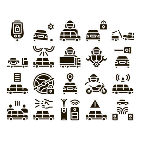 Car Theft Collection Elements Icons Set Vector Thin Line. Car Theft On Truck, Thief Silhouette Near Motorcycle And Van, Signaling And Electronic Key Pictograms. Monochrome Contour Illustrations