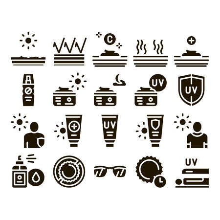 Sunscreen Collection Elements Icons Set Vector Thin Line. Sun Lotion And Medical Cream, Protection Skin And Human Silhouette, Sunscreen Glyph Pictograms Black Illustrations 版權商用圖片 - 155497114