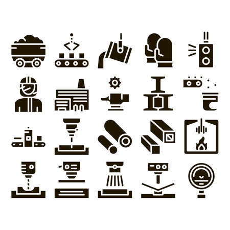 Metallurgical Collection Elements Icons Set Vector Thin Line. Factory Furnace, Metal Melting And Metallurgical Pipe Foundry Glyph Pictograms Black Illustrations Vektorové ilustrace