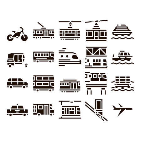 Public Transport Vector Line Icons Set. Trolleybus And Bus, Tramway And Train, Cable Way And Monorail Transport Pictograms. Car And Taxi, Plane And Ship Glyph Pictograms Black Illustrations