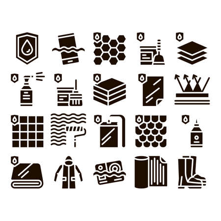 Waterproof Materials Glyph Icons Set Vector. Waterproof Material For Personal, Industrial Use . Water Resistant Device, Clothes, Moisture Absorbing Substance Glyph Pictograms Black Illustrations Иллюстрация