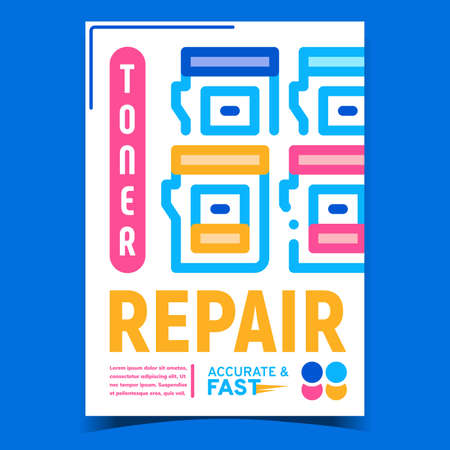 Toner Repair Service Advertising Poster Vector. Inkjet Cartridge Toner Repair, Printer Accessory On Creative Promotional Banner. Electronic Technology Concept Template Style Color Illustration Illustration