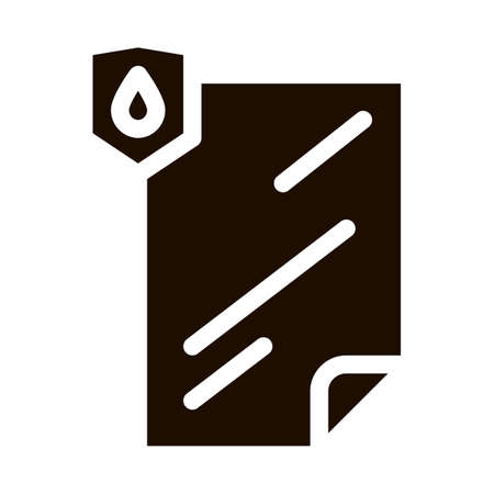 Waterproof Material File Vector Icon. Waterproof Material Lamination Document, Industrial Use Pictogram. Clothes, Moisture Absorbing Substance Contour Illustration Ilustração