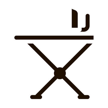 Laundry Service Ironing Equipment Vector Line Icon. Iron And Skirt-board Laundry Service, Washing Clothes Dress Pictogram. Laundromat, Dry-Cleaning, Launderette Contour Illustration