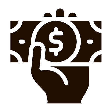 Volunteers Support Money Vector Icon. Volunteers Support, Help Charitable Organizations, Hand Holding Money Dollar Pictogram. People Silhouette Blood Donor Contour Illustration Illustration