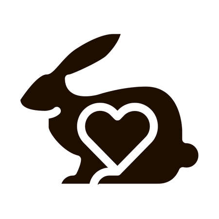 Animal Rabbit And Heart Vector Icon. Testing Organic Cosmetic On Animal, Natural Component Pictogram. Ecology, Cruelty-free Product, Molecular Analysis Contour Illustration Ilustrace