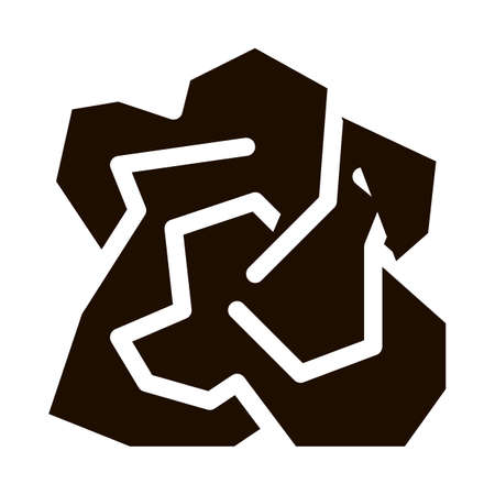 Crumpled Piece Of Paper Vector Icon. Ecological Fatal Down Environmental Pollution Impact Of Cast-off Paper Pictogram. Dirty Soil, Water, Air Contour Illustration Ilustración de vector