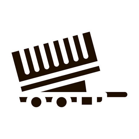 Agricultural Cargo Trailer Vector Icon. Truck Trailer For Delivery Corn Grain. Machinery Transport Pictogram. Irrigation Machine Combine Monochrome Illustration
