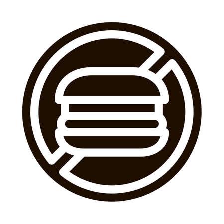 Anti Unhealthy Food Sign Vector Icon. Forbidden Burger Hamburger Food, Symptomp Of Pregancy Pictogram. Characteristic And Diagnosis Of Future Mother Monochrome Illustration