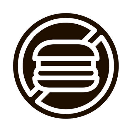Anti Unhealthy Food Sign Vector Icon. Forbidden Burger Hamburger Food, Symptomp Of Pregancy Pictogram. Characteristic And Diagnosis Of Future Mother Monochrome Illustration