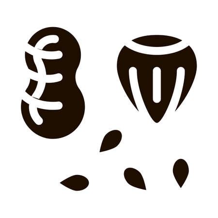 Assortment Healthy Food Nuts Vector Icon. Bio Eco Nuts Peanut, Filbert Hazel-nut And Seeds Pictogram. Organic Healthcare Vitamin Delicious Nutrition Monochrome Illustration 向量圖像