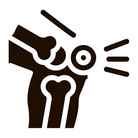 Knee Pain Leg Bones Orthopedic Element glyph icon . Orthopedic And Trauma Rehabilitation, Collar And Walkers Pictogram. Medical Rehab Goods Monochrome Illustration