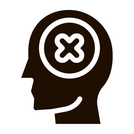 Renouncement Sign In Man Silhouette Mind glyph icon . Gear And Brain, Heart And Shield, Padlock And Coin Pictogram. Black And White Template Contour Illustration
