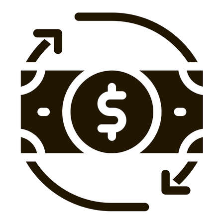 Bank Note Dollar And Around Arrows glyph icon . Dollar Money On Smartphone Display And Magnifier, Web Site Financial Pictogram. Monochrome Illustration 向量圖像