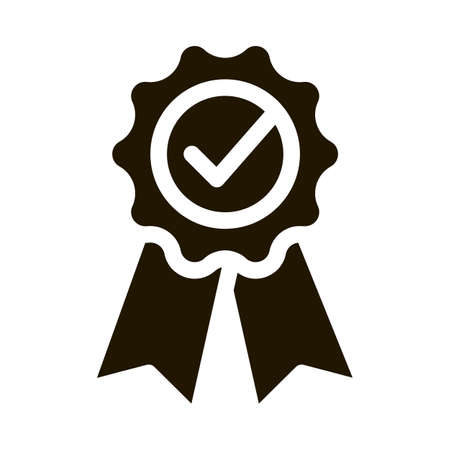Medal Order With Ribbon Approved Mark glyph icon . Approved Sign On Carton Box, Computer Monitor And Smartphone Display Pictogram. Monochrome Illustration