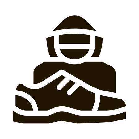 Shoes Shoplifter Human glyph icon vector. Shoes Shoplifter Human Sign. isolated symbol illustration