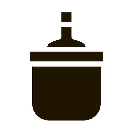 Drink Bottle in Cooling Bucket glyph icon vector. Drink Bottle in Cooling Bucket Sign. isolated symbol illustration Illusztráció