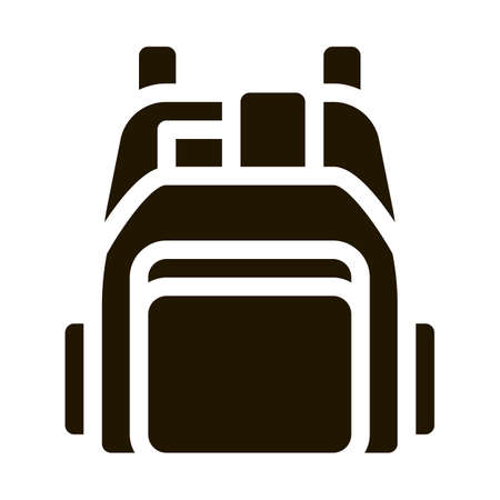 Human Shop Backpack glyph icon vector. Human Shop Backpack Sign. isolated symbol illustration Illusztráció