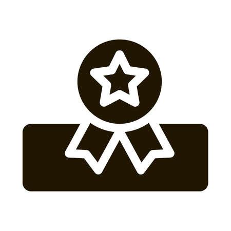 Mattress Star Medal glyph icon vector. Mattress Star Medal Sign. isolated symbol illustration 일러스트
