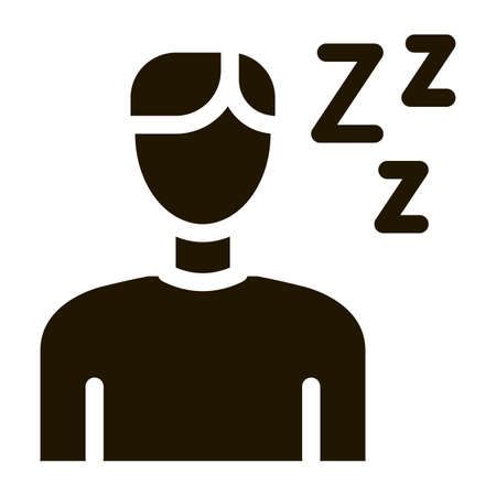 Drowsiness Man glyph icon vector. Drowsiness Man Sign. isolated symbol illustration Vectores