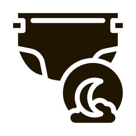 Night Diaper glyph icon vector. Night Diaper Sign. isolated symbol illustration
