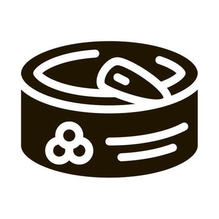 Caviar In Tin glyph icon vector. Caviar In Tin Sign. isolated symbol illustration 일러스트