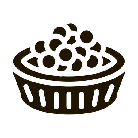 Caviar In Basket glyph icon vector. Caviar In Basket Sign. isolated symbol illustration 일러스트