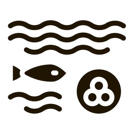 Fish Lays Caviar glyph icon vector. Fish Lays Caviar Sign. isolated symbol illustration