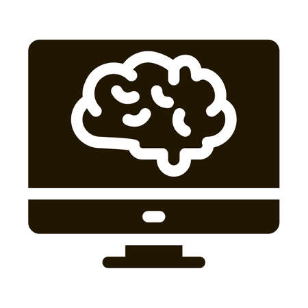 Brain On Display glyph icon vector. Brain On Display Sign. isolated symbol illustration