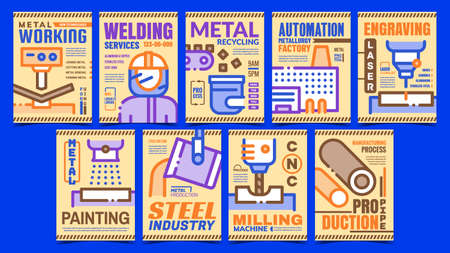 Metallurgical Industry Promo Posters Set Vector. Milling And Painting Machine, Metal Recycling And Metallurgical Factory Promotional Banners. Concept Template Style Color Illustrations