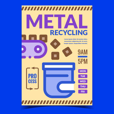 Metal Recycling Creative Advertise Banner Vector. Conveyor Transportation Metal To Recycle Melting Machine Furnace, Industry Equipment Promotional Poster. Concept Template Style Color Illustration