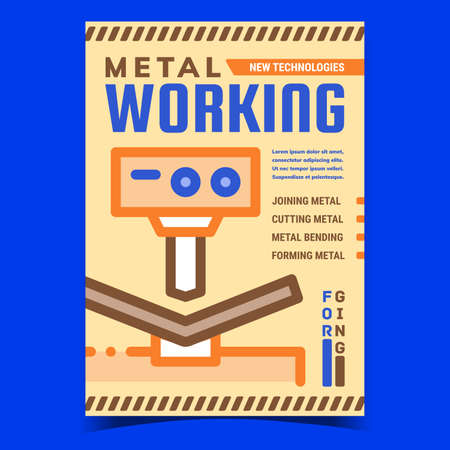 Metal Working Creative Advertise Poster Vector. Joining And Cutting, Bending And Forming Metal Work Machine Industry Technology Promotional Banner. Concept Template Style Color Illustration