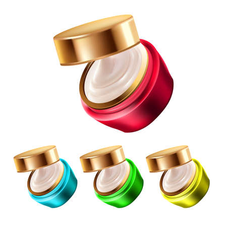 Night Cream Containers Makeup Cosmetic Set Vector. Moisturizing Facial Cream Blank Packages. Protection Face Skincare Creamy Beauty Salon Hygienic Liquid Template Realistic 3d Illustrations