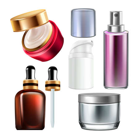 Night Cream And Cosmetics Containers Set Vector. Shaving Foam And Perfume Blank Containers, Oil Essence Bottles And Sprayers Collection. Skincare Accessories Template Realistic 3d Illustrations 向量圖像