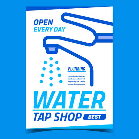 Water Tap Shop Creative Promotional Poster Vector. Plumbing Faucet Tool Shop Advertising Banner. Plumber Equipment And Appliance Sale Market Concept Template Style Color Illustration