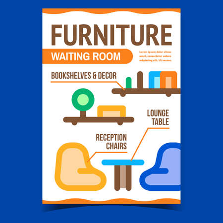 Waiting Room Furniture Promotional Banner Vector. Reception Chairs, Lounge Table, Bookshelves And Decor Room Interior Creative Advertising Poster. Concept Template Style Color Illustration