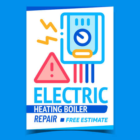 Electric Heating Boiler Repair Promo Banner Vector. Electrical Boiler Heat Equipment Fixing Service Advertising Poster. Broken Technics Technology Fix Concept Template Style Color Illustration