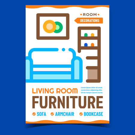 Living Room Furniture Promotional Poster Vector. Sofa, Armchair And Bookcase Room Decorations Advertising Banner. Couch, Picture And Bookshelf Concept Template Style Color Illustration  イラスト・ベクター素材