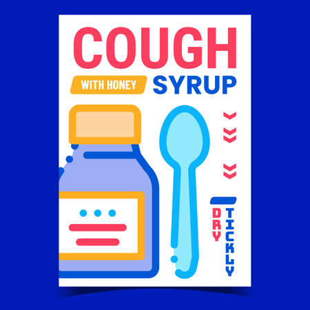 Cough Syrup Creative Promotional Banner Vector. Healthcare Medicine Treatment Syrup With Honey Blank Bottle Package And Spoon Advertising Poster. Concept Template Style Color Illustration