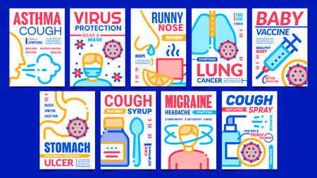 Disease And Treatment Promo Posters Set Vector. Asthma And Migraine Disease, Virus Protection Mask And Cough Spray Collection Advertising Banners. Concept Template Style Color Illustrations