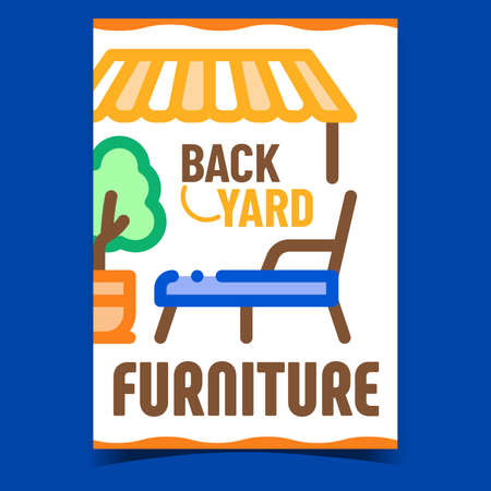 Backyard Furniture Creative Promo Banner Vector. Decorative Tree Plant And Lawn Chair, Lounge Patio Comfortable Furniture Advertising Poster. Concept Template Style Color Illustration