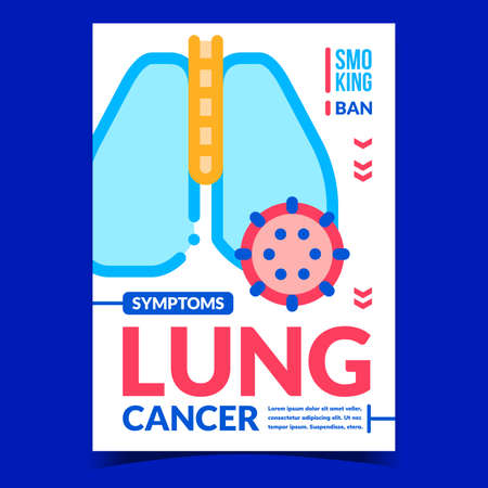 Lung Cancer Symptoms Creative Promo Banner Vector. Human Lung Affected With Disease Advertising Poster. Smoking Ban, Health Problem And Treatment Concept Template Style Color Illustration