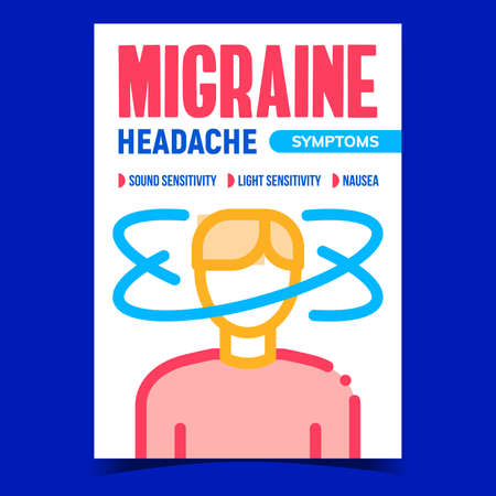 Migraine Headache Symptoms Promo Banner Vector. Illness Human With Nausea, Sound And Light Sensitivity Migraine Syndromes Advertising Poster. Concept Template Style Color Illustration