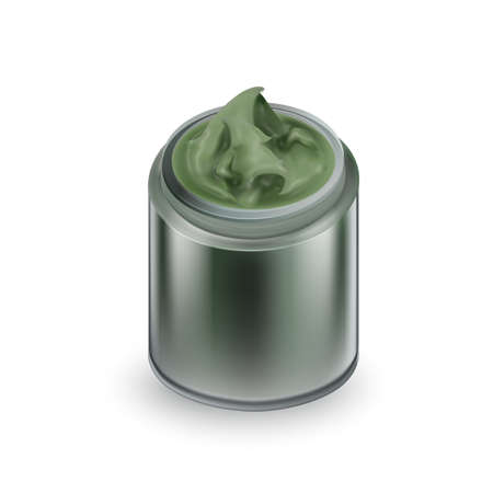 Facial Mask Cream Makeup Cosmetic Package Vector. Creamy Mask Blank Container Applying To Clean Or Smoothen Face Skin. Skincare Chemical Moisturizing Liquid Template Realistic 3d Illustration  イラスト・ベクター素材