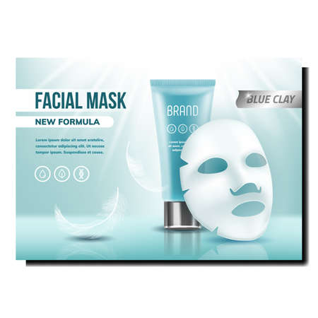 Facial Mask And Cream Creative Promo Banner Vector. Feathers, Creamy Cosmetics Blank Tube And Mask Face Skin Care Product Advertising Marketing Poster. Style Color Concept Template Illustration  イラスト・ベクター素材