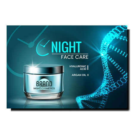 Night Face Care Creative Promotional Poster Vector. Facial Care Cream Blank Bottle On Advertising Marketing Banner. Protective Cosmetics Container Style Color Concept Template Illustration  イラスト・ベクター素材
