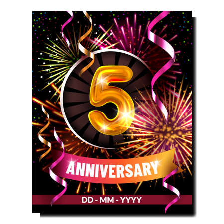 Five Anniversary Creative Promo Banner Vector. Inflatable Number, Fireworks Explosion And Decorative Ribbons, Fifth Anniversary Advertise Marketing Poster. Style Color Concept Template Illustration